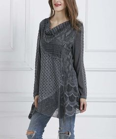 Look what I found on #zulily! Gray Abstract Crochet Cowl Neck Tunic #zulilyfinds