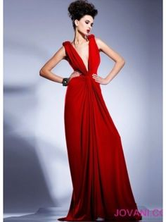 e7e27406b14f2 Sheath V-Neck Flower Elastic Satin Long Red Formal Dress Red Evening Gowns