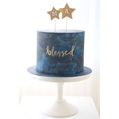Blessed is truly what these two little boys who celebrated their christening over the weekend are! A celestial-inspired design for their very special day. ⛪️ #christeningcake #baptismcake #nightsky #paintedcake #blessed