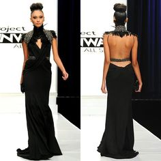 Online Shop Fashion 2015 New High Collar Black Prom Dresses Sheath Sexy Open Back Feathered Long Evening Gown Vestidos para noite Stunning Dresses, Nice Dresses, Formal Dresses, Amazing Dresses, Couture Fashion, Runway Fashion, Fashion 2015, Opera Dress, Fairytale Gown
