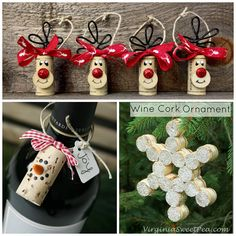 Christmas Cork Crafts - Wine Cork Snowflake, Wine Cork Christmas Tree Card Holder, Standing Wine Cork Reindeer Wine Cork and Christmas Wreath Wine Cork Ornament Wine Cork Ornaments, Diy Christmas Ornaments, Christmas Projects, Holiday Crafts, Christmas Wreaths, Christmas Decorations, Snowflake Ornaments, Wine Cork Wreath, Wine Cork Christmas Trees