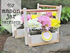 """That's My Letter: """"M"""" is for Mason Jar Carrier diy wood scraps gift idea Mason Jar Diy, Mason Jar Crafts, Scrap Wood Projects, Diy Projects, House Projects, Woodworking Projects, Wood Scraps, Party Centerpieces, Wood Picture Frames"""