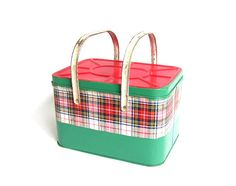 Vintage Metal Picnic Basket Red Green White Plaid Picnic Blanket Tin Picnic Basket Green Red Plaid Scotch Cooler Camping Decor on Etsy, $42.00