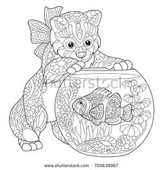 Coloring Page Of Kitten Playing With Clown Fish In Aquarium Freehand Sketch Drawing For Adult Antistress Book Zentangle Style