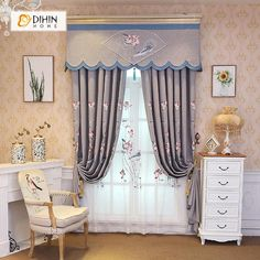 DIHIN HOME Lotus Embroidered Valance,Blackout Curtains Grommet Window Curtain for Living Room ,52x84-inch,1 Panel Grommet Curtains, Sheer Curtains, Blackout Curtains, Window Curtains, Valances, Curtain Length, Curtain Patterns, Room Darkening, Curtains