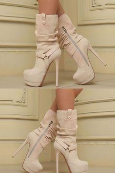 f989e4f1bfe3 Trendy Plain Round Toe Stiletto Heel Ankle Boots. Shoespie.com