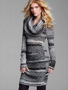 Зимние вязаные платья на зиму 2016 года