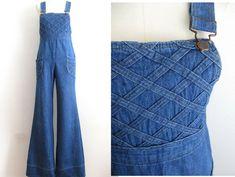 b6b03b4ca79f Details about vintage 70s overalls denim jumpsuit wide leg jeans pants  hippie boho romper S M