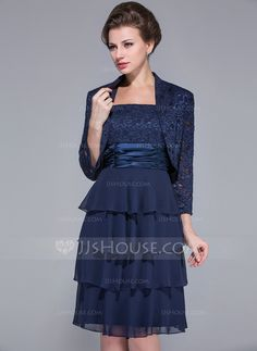 A-Line/Princess Square Neckline Knee-Length Chiffon Charmeuse Lace Mother of the Bride Dress With Ruffle (008029102)