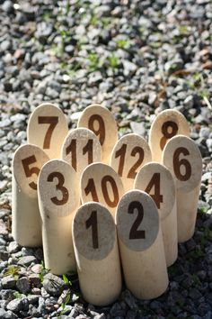 Mölkky. You can also use them as table numbers.