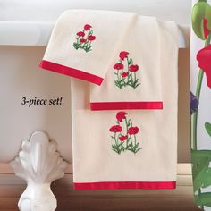 Embroidered Poppy Field Cotton Towels with Red Satiny Ribbon Border (Set of 3) #CottonTowels #HandTowels #Embroidered #PoppyField #Poppy #White #Satin #Cotton #Towels #Holiday #Washcloths #Bath #Home #Seasonal #HomeDecor #Setof2