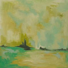 """""""The Great Big Sea"""" 24 x24 oil painting of the sea: in white, cream, yellow,teal blue, turquoise, & ochre.  Hillary Butler Fine Art"""