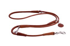 Multi Functional Dog Leash Rolled Soft Brown Leather 4 5 6 feet Training Lead