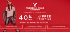 Online & In-Store : 40% #Off essential styles to give & get plus free shipping.  Store : #AmericanEagleOutfitters Scope: Entire Store   Ends On : 11/24/2016    Get more deals: http://www.geoqpons.com/American-Eagle-Outfitters-coupon-codes  Get our Android mobile App: https://play.google.com/store/apps/details?id=com.mm.views    Get our iOS mobile App: https://itunes.apple.com/us/app/geoqpons-local-coupons-discounts/id397729759?mt=8