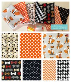 Fox fabric bundle Fox and the Houndstooth by fabricshoppe