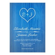 blue white country wedding invitations