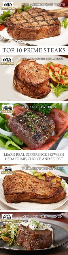 Top 10 Prime Steaks +Recipe for Each