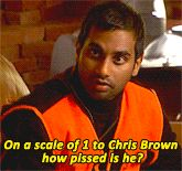 'On a scale of 1 to Chris Brown how pissed is he?' Tom Haverford, Parks & Recreation (too funny)
