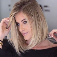 bob hairstyles with blonde highlights 2017 Blonde Balayage blonde Bob Hairstyles Highlights Straight Bob Haircut, Bob Haircut For Fine Hair, Bob Hairstyles For Fine Hair, Long Bob Haircuts, Haircuts For Fine Hair, Haircut And Color, Hairstyles Haircuts, Haircut Medium, Brown Hairstyles