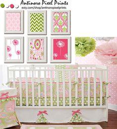Nursery Digital Wall Art Pink Green Art by antinoropixelprints, $55.00