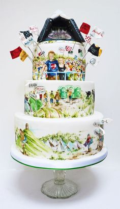 A Glastonbury themed cake for a lovely couple in the music business. Glastonbury is a big music festival in the UK famed for mud and queues for the toilets! Wedding Cake Designs, Wedding Cakes, Beautiful Cakes, Amazing Cakes, Sour Cream Chocolate Cake, Christmas Cake Pops, Cake Works, Cake Decorating With Fondant, Birthday Chocolates