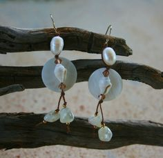 White Mother of Pearl Earrings--knotted onto large white pearls w/ nassa shells, Swarovski crystals, gold seed beads,
