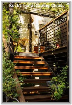 Outdoor Floating Stairs Outdoor stairs in park slope Garden Stairs, House Stairs, Garden Arbor, House Roof, Exterior Design, Interior And Exterior, Exterior Stairs, Deck Stair Railing, Deck Pergola