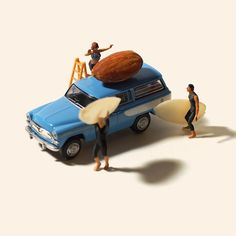 miniature diorama master Tanaka Tatsuya. The Japanese artist has continued to create impressive miniature scenes using life's most mundane objects and the tiniest of people and props