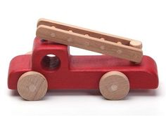 Handcrafted Wooden Fire Truck, Natural, Organic Wooden Toys For Kids