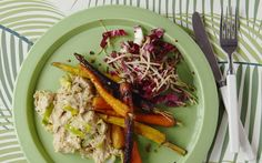 Peppery carrots, a nutty chickpea mash and a perky apple, quinoa and radicchio   salad