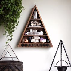 The Original Moon Phase Shelf Triangle Shelf for Crystal Display by stoneandviolet on Etsy https://www.etsy.com/listing/221966031/the-original-moon-phase-shelf-triangle