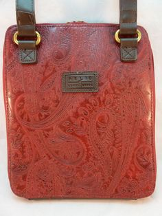 New Relic Embossed Faux Leather Berry Wine Paisley Cross Body Organizer Purse #Relic #MessengerCrossBody
