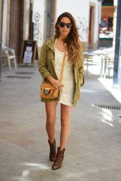 @stellawantstodie Parka + Lace Dress http://FashionCognoscente.blogspot.com