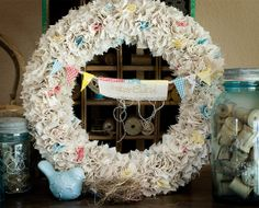 no-sew fabric wreath - love the fluffy rufflely look; could use a cone styrofoam for a christmas tree too