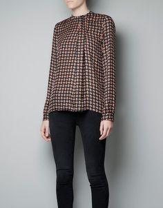 HIGH COLLAR PRINTED TOP - Shirts - Woman - ZARA United States