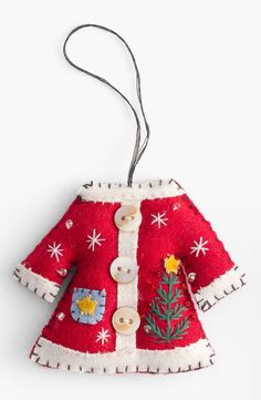 cute winter coat ornament ~ beaded, buttoned and some stitchery :-)