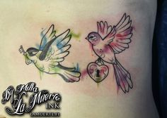 Birds with lock and key tattoo by Milla Sipola @ La Muerte Ink