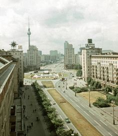 Strausberger-Platz U-Bahn station sitting on Karl-Marx-Allee, East Berlin, German Democratic Republic, 1968, photograph by Schmidt Wolfgang FW.