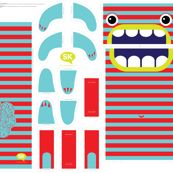 Hungry Monster Laundry Bag: Red/Turquoise by sammyk