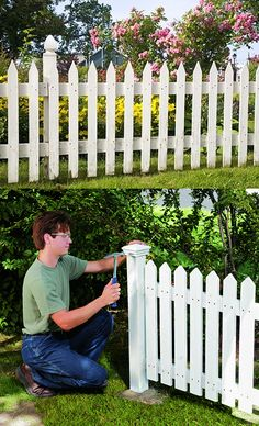 Welcome to Ideas of DIY Classic White Picket Fence article. In this post, you'll enjoy a picture of DIY Classic White Picket Fence design . Diy Garden Fence, Fenced Vegetable Garden, Backyard Fences, Pool Fence, Fence Design, Garden Design, Unique Garden, Building A Fence, White Fence