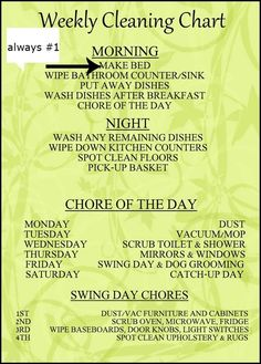I think this is a great idea for a busy college student and a busy homemaker ... It spreads out the load of work over a week.   i love the outline of it but would customize it to include specifics that pertain to my household.