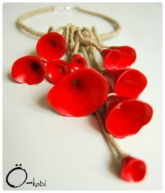 Red flowers necklace  (Polymer clay, ink, linnen)