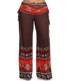 Love this Brown Geometric Tie Palazzo Pants - Plus by Pretty Young Thing on #zulily! #zulilyfinds