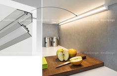 LOC - 30  angle profile is designed to be mounted under kitchen cabinets, under shelves etc.