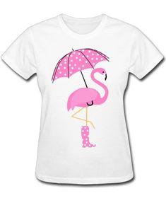 Cute Pink Flamingo in a boot holding an umbrella T-shirt.