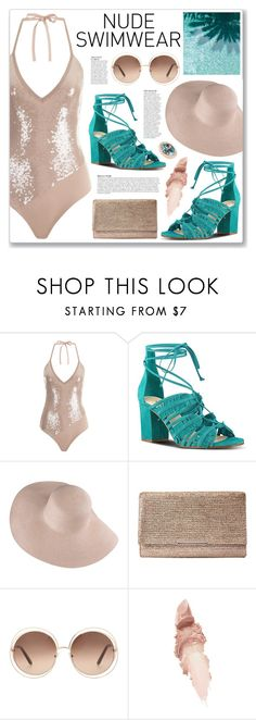 """""""Bare It All: Nude Swimwear"""" by myduza-and-koteczka ❤ liked on Polyvore featuring Nine West, Jessica McClintock, Chloé, Anja, Maybelline and Dallas Prince"""