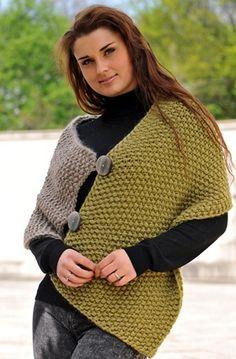 Her skal du bruge de helt store strikke-pinde og to tråde kraftigt uldgarn
