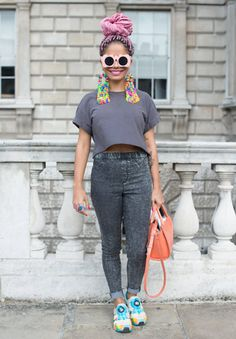 London Fashion Week SS15: LFW Street Style - statement earrings and Puma trainers