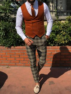Marina Tile Slim Fit Double Breasted Wool Vest and Adena Classic Camel Slim Fit Plaid Pants Collection Fall Winter 1920 Product Slim Fit Plaid Pants Color Code Camel Gr. Mens Casual Suits, Grey Suit Men, Mens Fashion Suits, Mens Suits, Style Outfits, Vest Outfits, Fashion Outfits, Fashion Deals, Fashion Pants