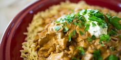Beef Stroganoff - with this recipe it is critical that the beef is sliced very thinly - to make this easier, place the steak flat in the freezer for half an hour to an hour, until firmed but not frozen through Meat Recipes, Dinner Recipes, Cooking Recipes, Healthy Recipes, Dinner Ideas, Recipies, Savoury Recipes, Noodle Recipes, Dinner Dishes